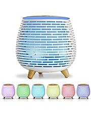 Salking Dyfuzor zapachowy do aromaterapii, z regulowanym trybem wydzielania mgiełki, 23 dB, ultra cichy nawilżacz powietrza, 7 kolorów światła (lampka nocna), nie zawiera BPA, do domu i biura, biały