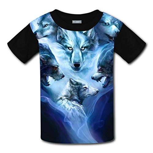Peter And The Wolf Costumes (Werewolf Spirits Kids Graphic Print T-shirts Crew Neck Tops Boys Girls XS)