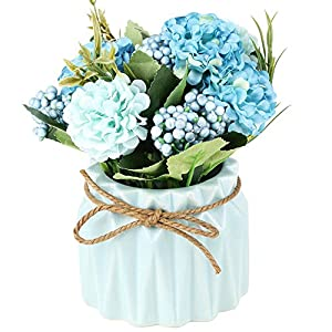 SUPNIU Artificial Hydrangea Bouquet with Small Ceramic Vase Fake Silk Variety Flower Balls Flowers Decoration for Table Home Party Office Wedding (White)