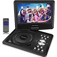 Portable DVD Players,11 Multimedia Video Player with 9.5 Swivel Flip Screen,5 Hours Rechargeable Battery, Supports USB/SD Card/Games/Sync To TV, Perfect Gift for Kids and Car Travel- Black