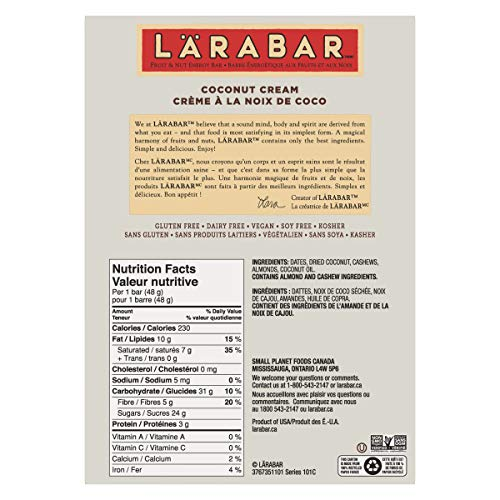Larabar Gluten Free Coconut Cream Fruit and Nut Energy Bar, 16-Count, 768  Gram
