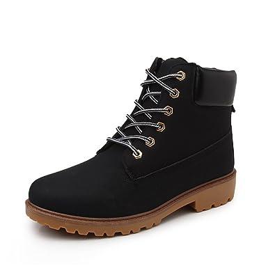 Herbst Winter Frauen und Herren schnüren sich oben Stiefel, Arbeitssicherheit Marten Stiefel Paar Rutschfeste Schuhe plus Größe (39, Winter-Schwarz)