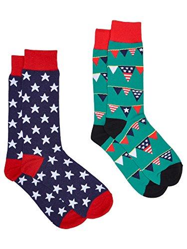 (Men's Novelty Socks Trouser Dress - 2 Pair Set (Flags & Stars))