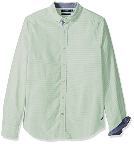 - Nautica Men's Long Sleeve Classic Fit Horizontal Stripe Button Down Shirt, Patina Green XX-Large