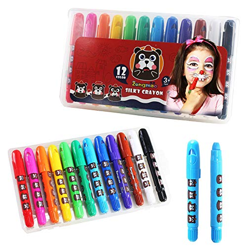 Face Paint Crayons NACTECH 12 Color Safe & Non-Toxic Face Body Painting Sticks Washable Twistable Paint Pencils Kit for Kids Halloween, Easter, Christmas, Cosplay, Fancy Dress Ball Makeup