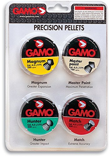 Gamo 632092754 Performance Airgun Pellets Combo Pack 1000 Assorted, .177 Caliber (Gamo Plinking Target)