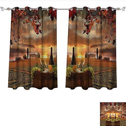 Youdeem-home Waterproof Window Curtain White Wine with Barrel on Vineyard at Sunset in Chianti Tuscany Italy Landscape Print,Orange Green Shades Window Treatment Valances Curtains W72 x L63/Pair -