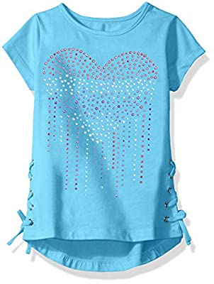 Dream Star Girls' Short Sleeve Studed Heart with Lacing At Sides