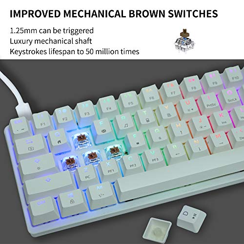 STOGA 60% Mechanical Gaming Keyboard, RGB Small Compact 61-Key USB-C Wired Brown Switch Mini Gaming/Office Portable Computer Keyboard (MK22-White)