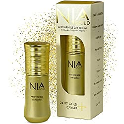 Nia Gold Luxury Skin Care. Anti-Wrinkle Serum with Pure 24K Gold, Vitamin E, Honey and Caviar. 1oz.