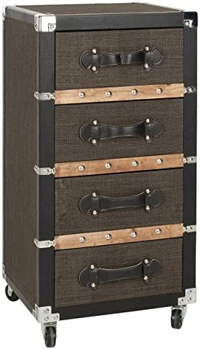 Safavieh Home Collection Brent Black, Brown Silver 4 Drawer Rolling Chest