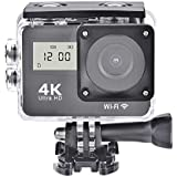 Acouto Action Camera, 4k HD 1080P 130°Wide Angle 2.0 Touch Double Screen Wifi Waterproof Sport Camera With Remote Cotroller and Waterproof Case Camera Accessories kit