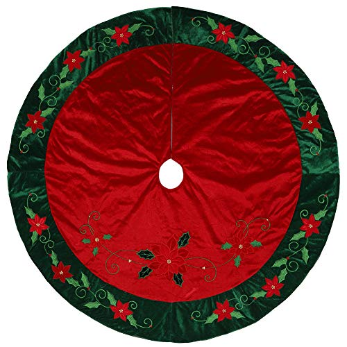 "Alice Doria 48"" Traditional Red and Green Christmas Tree Skirt with Embroidery and Beaded Christmas Flowers and Holly Leaves"