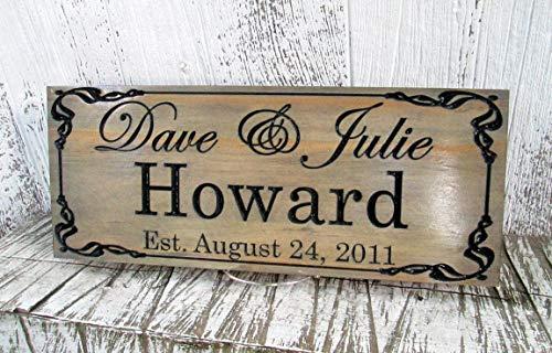 Established Last Name Sign, Wedding EST Date Sign, Custom Carved Signs, E104