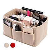 Handbag Organizer Bag Purse Insert Bag in Bag Felt Fabric MultiPocket Liner Organizer Tote Travel (Medium, beige)