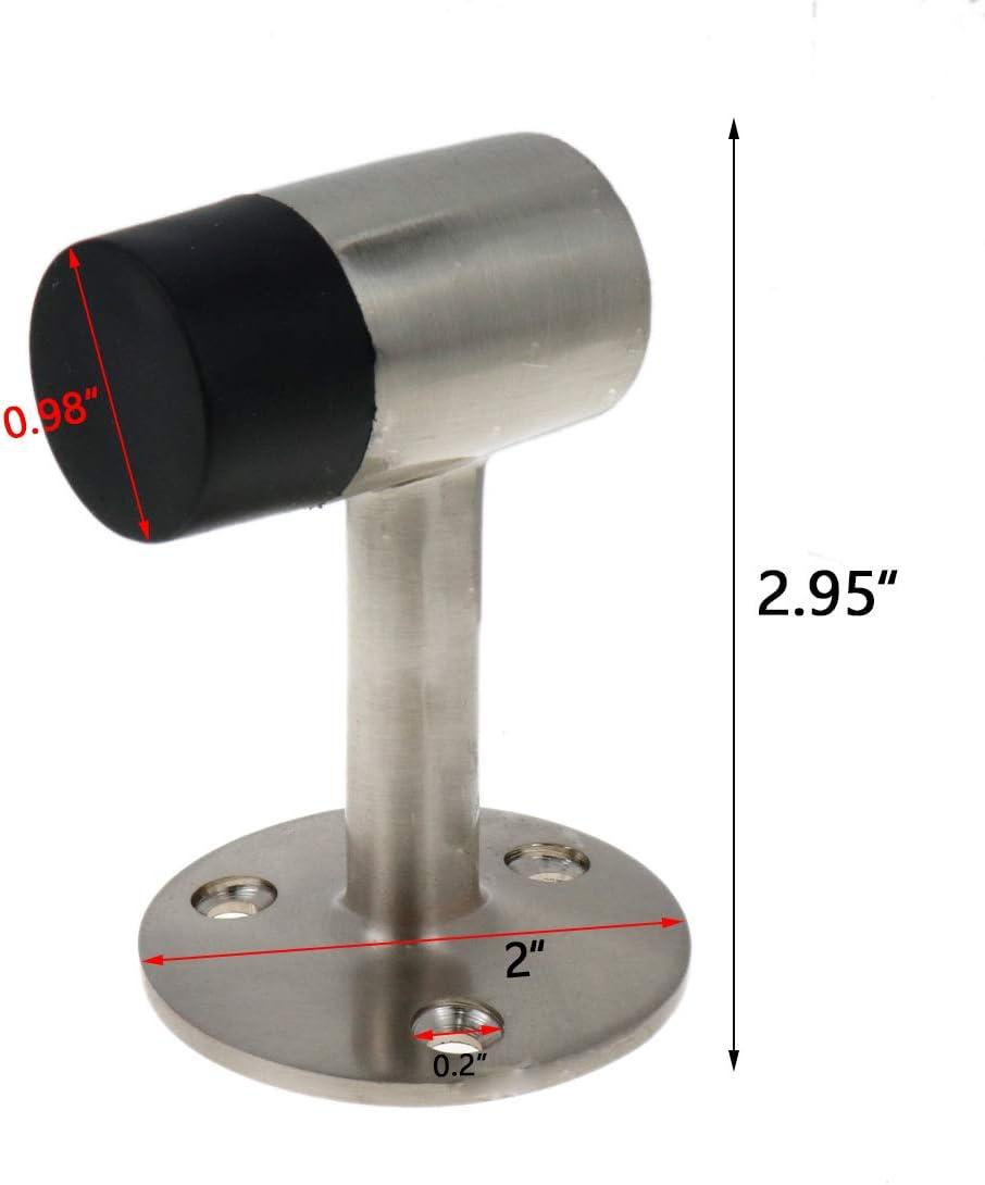 Bitray Door Stopper 75mm Height Heavy Duty and Flexible Door Stop Zinc Alloy Floor Door Bumper Anti-Collision 7-Shaped Door Top with Rubber Tip for Home or Office