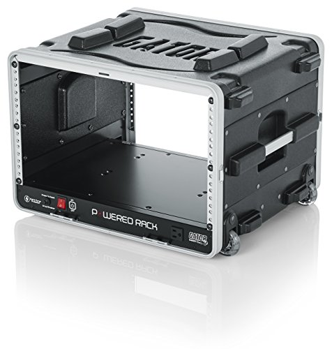 Gator Cases Lightweight Molded 4U Rack Case with Built-in Power Supply, Heavy Duty Latches, Retractable Tow Handle, and Recessed Wheels; 19.25 depth, 6U (GRR-6PL-US)