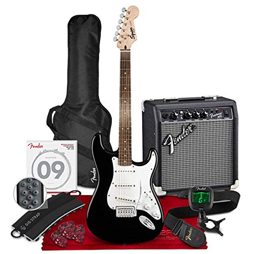 Squier by Fender Stratocaster Beginner Pack, Black with Gig Bag, Amp, Strap, Cable, Picks, and Fender Play + Tuner, Strings & Exclusive Bundle