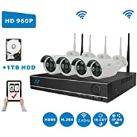 [Extendable 8CH System] NorthShire Wireless Surveillance Kit with 4CH [1.3 Megapixel] 960P Security Cameras and NVR 2.0 Support up to 8CH with 1TB HDD