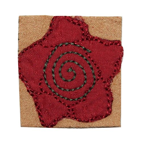 ID 7002 Red Swirl Flower Badge Patch Garden Symbol Embroidered Iron On Applique