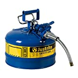 "Justrite AccuFlow 7225320 Type II Galvanized Steel Safety Can with 5/8"" Flexible Spout, 2.5 Gallon Capacity, Blue"