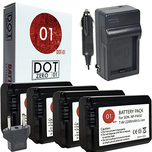 DOT-01 4X Brand Sony Alpha A5000 Batteries and Charger for Sony Alpha A5000 DSLR and Sony A5000 Battery and Charger Bundle for Sony FW50 NP-FW50 by DOT-01