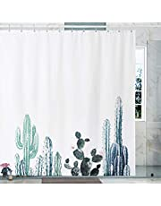 Fabric Shower Curtain with Rustproof Metal Hooks Light Weight Heavy Duty Fabric Water-Proof 71x71 inches