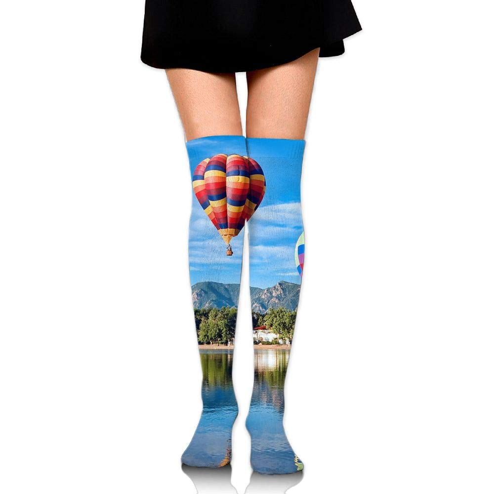 High Elasticity Girl Cotton Knee High Socks Uniform Lake Hot Air Balloon Women Tube Socks