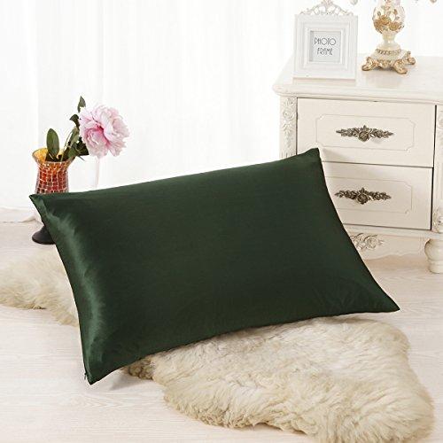 ALASKA BEAR - Natural Silk Pillowcase, Hypoallergenic, 19 momme, 600 thread count 100 percent Mulberry Silk, Standard Size with hidden zipper(Olive)