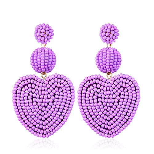 (Statement Bead Drop Earrings for Women Girl Handmade Bohemian Heart Round Dangle Dangly Lightweight Fashion Holiday Studs Ear Jewelry Accessories Gift for Mother with Gushion Present Box GUE145 Purple)