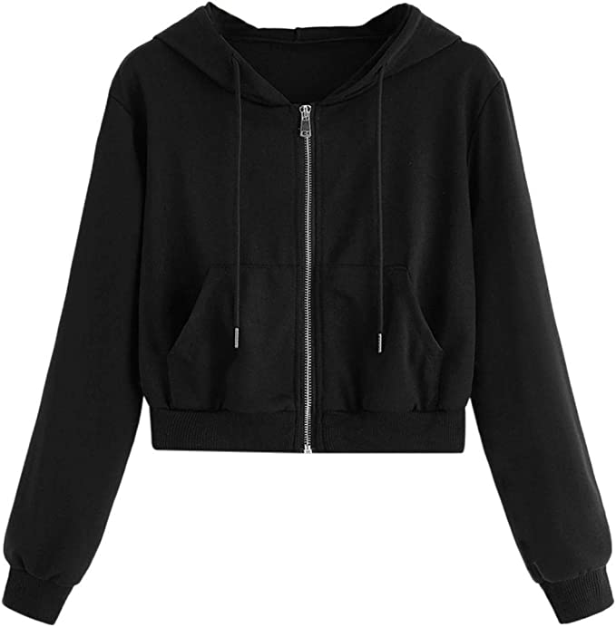 Thenxin Womens Full Zip Crop Top Hoodies Sweatshirt Long Sleeve Solid Color Shirt for Teen Girl