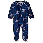OuterStuff NBA Oklahoma City Thunder Newborn Sleepwear All Over Print Zip Up Coverall, 6-9 Months, Dark Navy