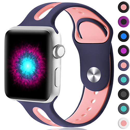 Haveda Sport Bands Compatible for Apple Watch 38mm/40mm, Soft Silicone Sport Strap Bands for Apple Watch, iWatch Series 4/3/2/1,Women Men Kids 38mm/40mm S/M Blue/Pink from Haveda