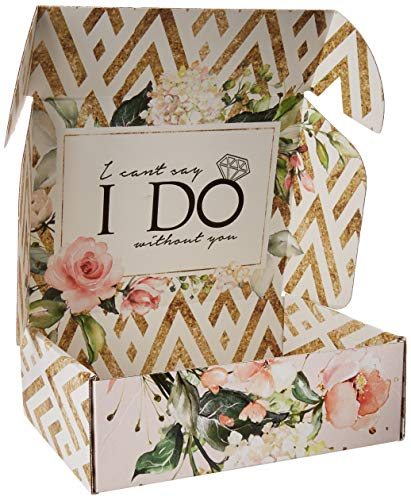 Bridesmaid Proposal Box Empty   Gold and Floral Design  I Cant Say I Do Without You Message Inside   Maid of Honor Proposal Box, 1 Empty Box