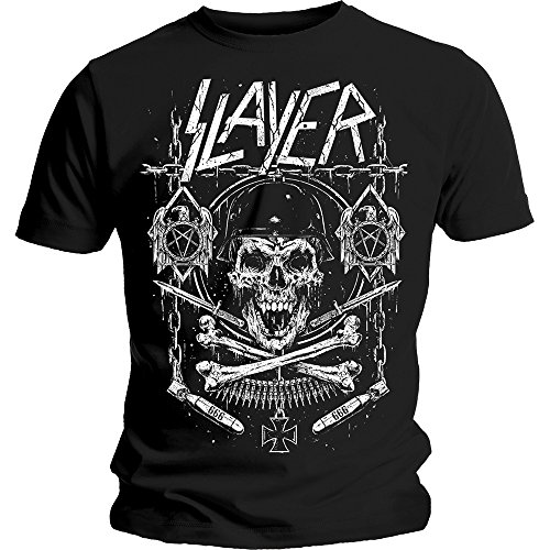 Slayer Skull & Bones Show No Mercy Thrash Metal Official Tee T-Shirt Mens Unisex - Skull Bones No