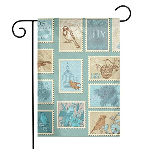 Woaiwodehuayuanqi Retro Bird Postage Stamps Home Sweet Home Garden Flag Vertical Double Sided Spring Summer Yard Outdoor Decorative 12 X 18 Inch-Holiday Flag ()