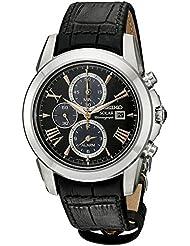 Seiko Mens SSC379 LGS Solar Analog Display Japanese Quartz Black Watch