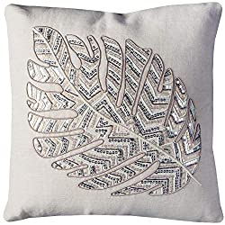 "Throw Pillow, 20"" x 20"", Ivory/silver"