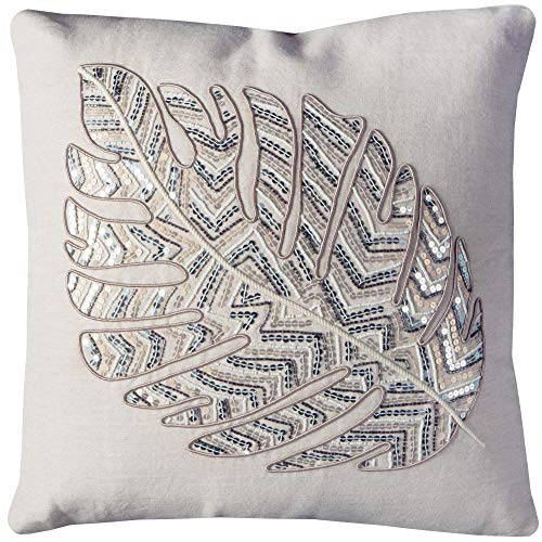 Rizzy Home T11177 Decorative Poly Filled Throw Pillow 20 x 20 Ivory Silver