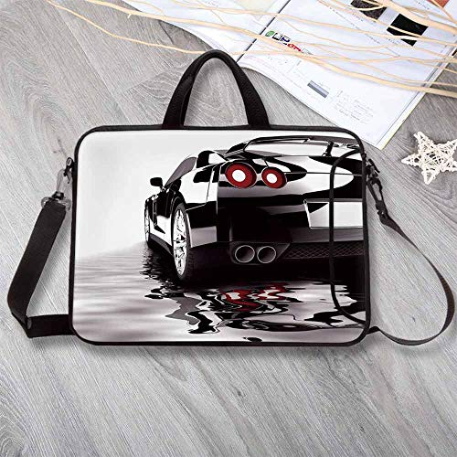 Cars Stylish Neoprene Laptop Bag,Modern Black Car with Water Reflection Prestige Fast Engine Performance Lifestyle Decorative Laptop Bag for Business Casual or School,12.6