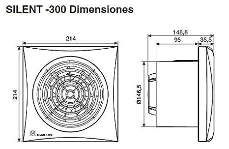 temporizador regulable Soler /& Palau; SILENT-300 CRZ; Extractor de ba/ño ultrasilencioso diam 150mm.