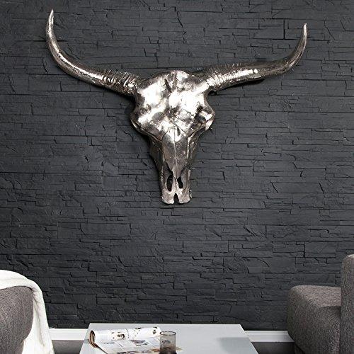 Eindrucksvoller Deko Schädel MATADOR Longhorn Skull aluminium poliert