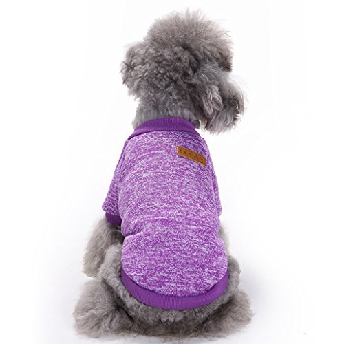 Pet Dog Classic Knitwear Sweater Warm Winter Puppy Pet Coat Soft Sweater Clothing For Small Dogs (S, Purple)