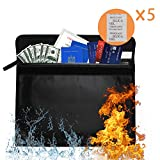 """MALLMALL6 Silicone Coated Fireproof Money & Document Bag 15.8"""" x 11.8"""" Fire & Water Resistant Money Bag Upgraded XL Envelope Holder Pouch for Valuables, Documents, Money, Jewelry-5Pcs Free Desiccants"""