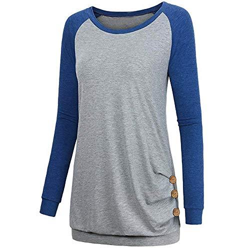 manga informal Aimee7 Blusa de Mujer Tops larga Blusa Camisetas Top Azul 8O7qOxIU