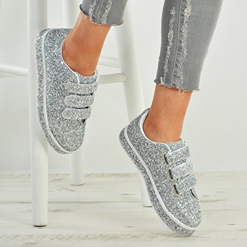 Cucu Fashion New Womens Ladies Glitter Sparkle Trainers Sneakers Plimsoll Shoes Silver B4tdh864QS