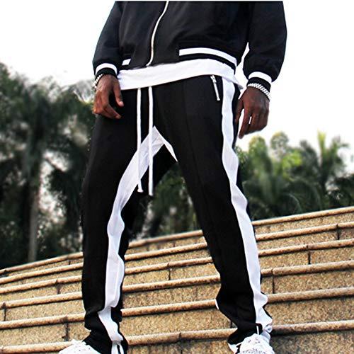 ALIKEEY-Pantalones De Rayas De Los Hombres es De Pantalón De Trabajo Casual De Bolsillo Casual Sport Sport Negro