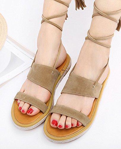 Aisun Femme Mode Bout Ouvert Plates Roman Sandales Beige cLR8NCaC