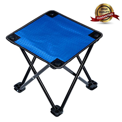 Garne T Mini Portable Folding Stool,Folding Camp Stool,Slacker Chair Outdoor Folding Chair for Camping,Fishing,Travel,Hiking,Garden,Beach, Quickly-Fold Blue Stool Oxford Cloth with Carry Bag