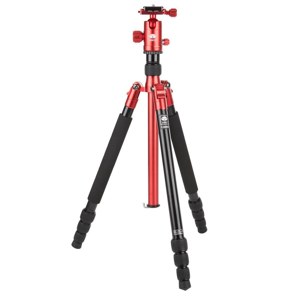 """Sirui T-004X Aluminum Tripod with C-10S Ball Head, 8.8 lbs Capacity, 58"""" Height, 4 Leg Sections, Red"""